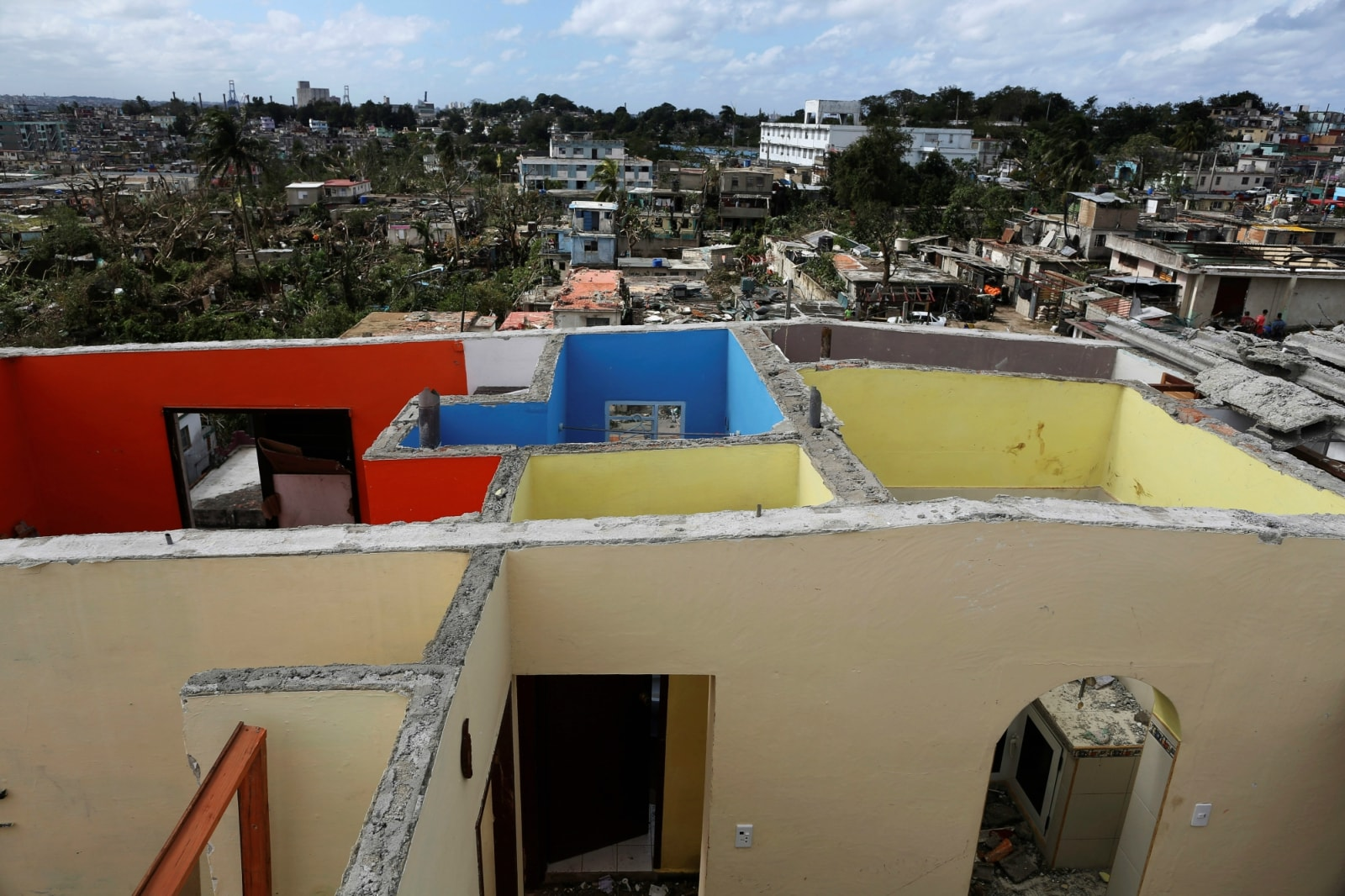 The walls of a house with the roof blown away after a tornado ripped through a neighbourhood, is seen in Havana, Cuba January 28, 2019. REUTERS/Fernando Medina