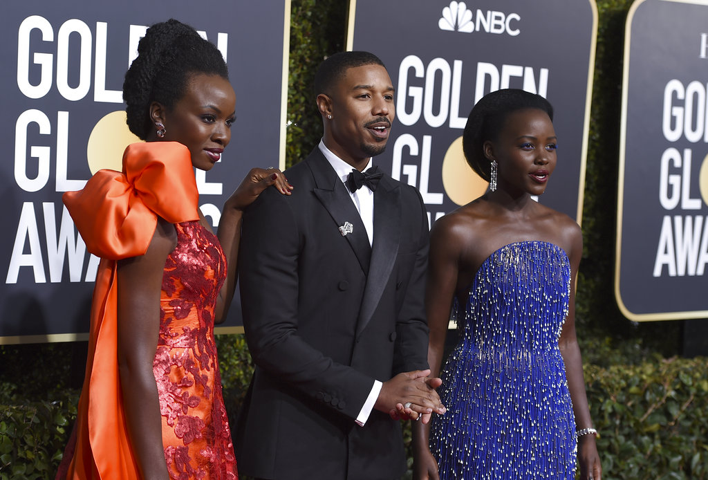 Danai Gurira, from left, Michael B. Jordan and Lupita Nyong'o arrive at the 76th annual Golden Globe Awards at the Beverly Hilton Hotel on Sunday, January 6, 2019, in Beverly Hills, California. (Photo by Jordan Strauss/Invision/AP)