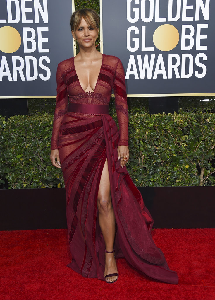 Halle Berry arrives at the 76th annual Golden Globe Awards at the Beverly Hilton Hotel on Sunday, January 6, 2019, in Beverly Hills, California. (Photo by Jordan Strauss/Invision/AP)