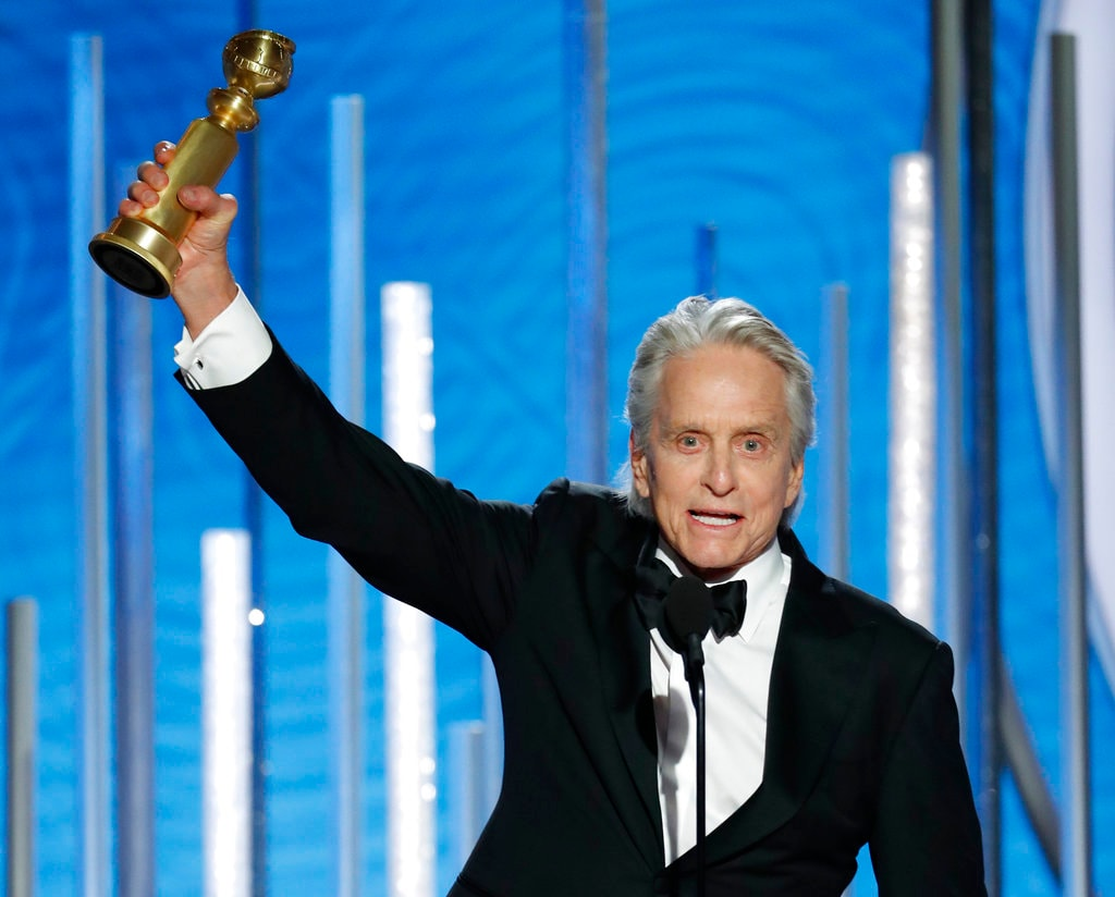 This image released by NBC shows Michael Douglas, winner of best actor in a TV series, musical or comedy for his role in