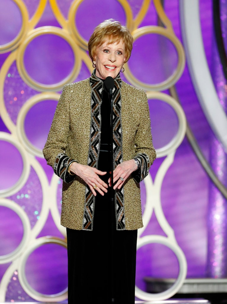 This image released by NBC shows Carol Burnett accepting the inaugural Carol Burnett TV Achievement Award during the 76th Annual Golden Globe Awards at the Beverly Hilton Hotel on Sunday, January 6, 2019 in Beverly Hills, California. (Paul Drinkwater/NBC via AP)