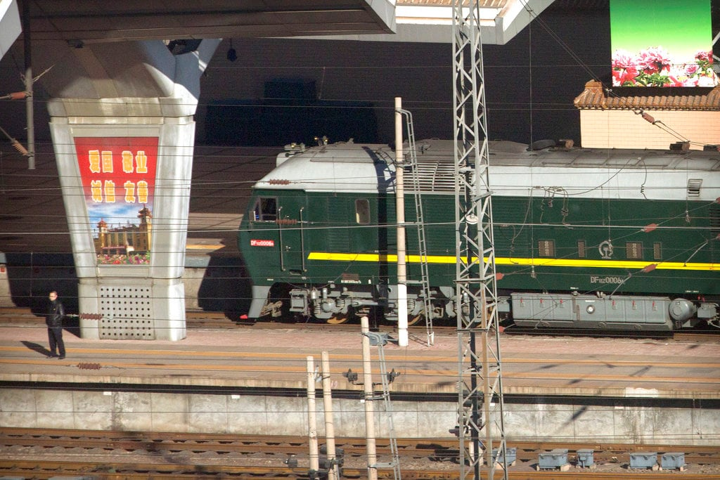 A train similar to one seen during previous visits by North Korean leader Kim Jong Un arrives at Beijing Railway Station in Beijing, Tuesday, January 8, 2019. (AP Photo/Mark Schiefelbein)