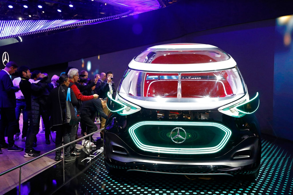 The Mercedes-Benz Vision Urbanetic is on display at the Mercedes-Benz booth at CES International, Tuesday, Jan. 8, 2019, in Las Vegas.