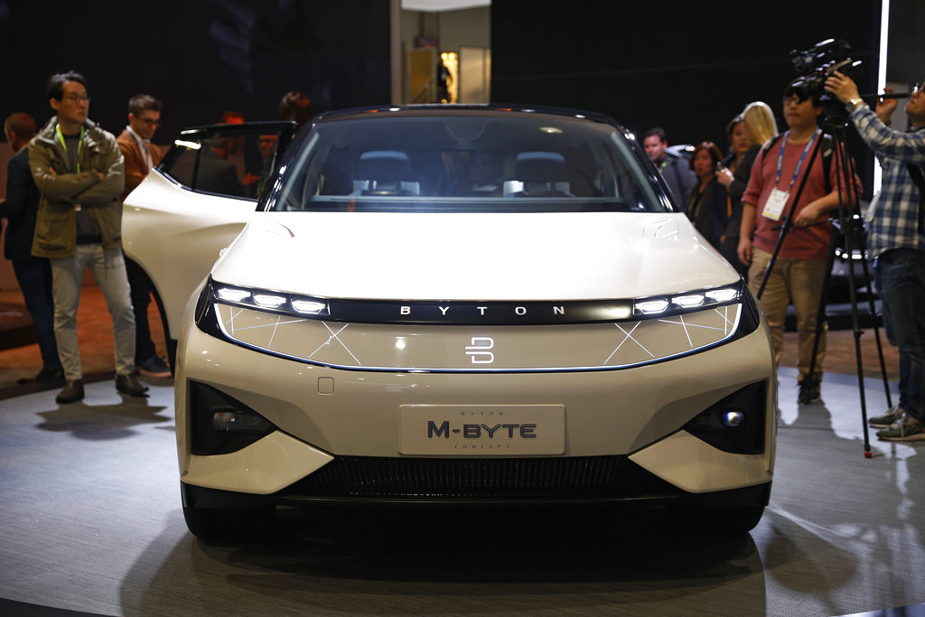 The Byton M-Byte SUV is on display at the Byton booth at CES International, Tuesday, Jan. 8, 2019, in Las Vegas.