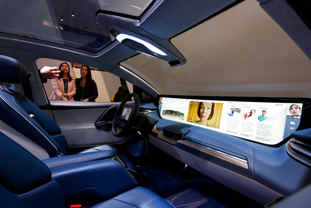 The interior of the Byton M-Byte SUV is on display at the Byton booth at CES International, Tuesday, Jan. 8, 2019, in Las Vegas.