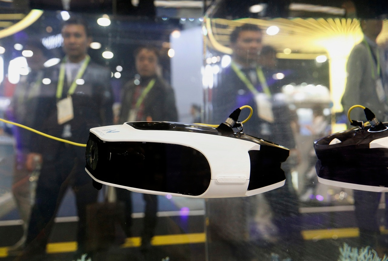 The MITO underwater drone is on display at the Navatics booth at CES International, Wednesday, Jan. 9, 2019, in Las Vegas. (AP Photo/John Locher)