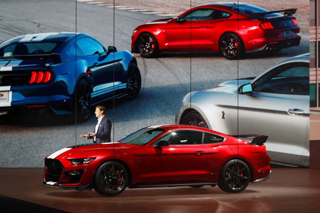 Ford Motor Company's Executive Vice President and president, Global Markets, Jim Farley introduces the 2020 Ford Mustang Shelby GT500, Monday, January 14, 2019, at the North American International Auto Show in Detroit. (AP Photo/Carlos Osorio)