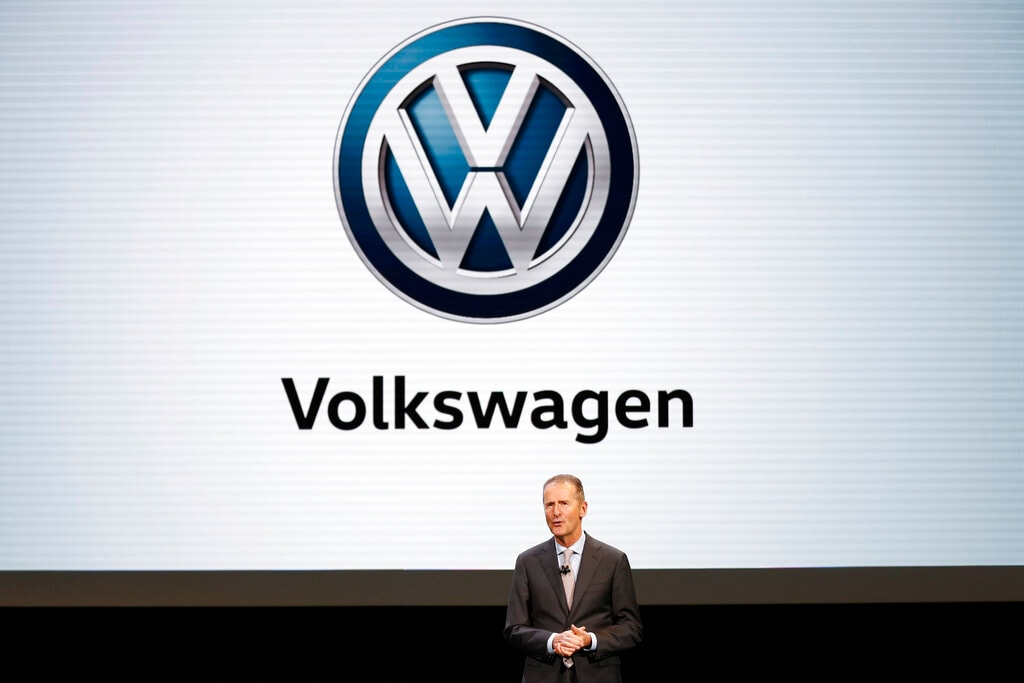 Dr. Herbert Diess, CEO, Volkswagen AG, speaks during media previews for the North American International Auto Show in Detroit, Monday, January 14, 2019. (AP Photo/Paul Sancya)
