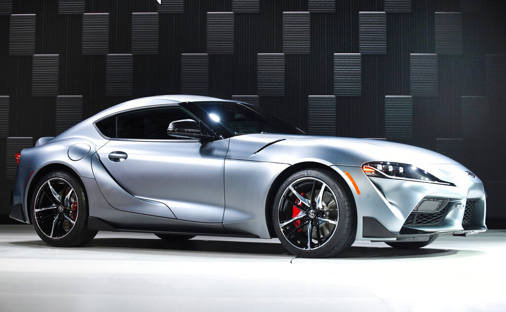 The 2020 Toyota Supra is displayed on Monday, January 14, 2019, at the North American International Auto Show in Detroit. (Daniel Mears/Detroit News via AP)