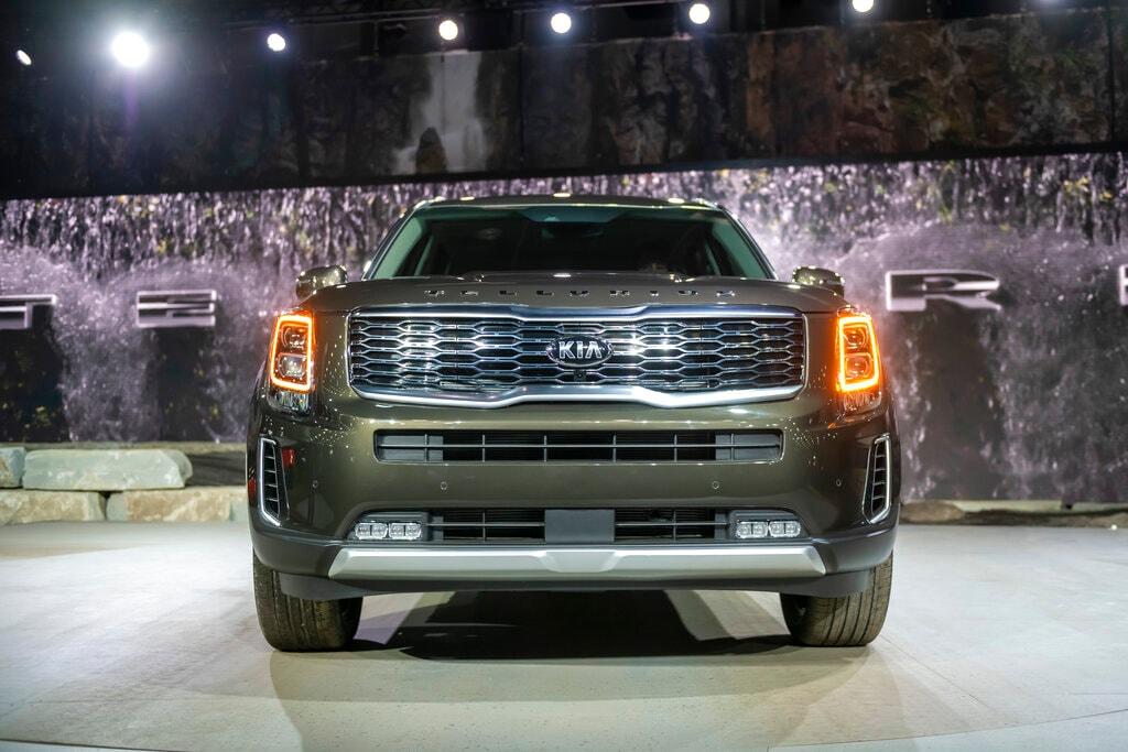 The 2020 Kia Telluride is displayed Monday, January 14, 2019, at the North American International Auto Show in Detroit. (David Guralnick/Detroit News via AP)