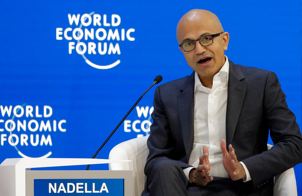 Microsoft's CEO Satya Nadella speaks at the annual meeting of the World Economic Forum in Davos, Switzerland, Tuesday, Jan. 22, 2019. (AP Photo/Markus Schreiber)