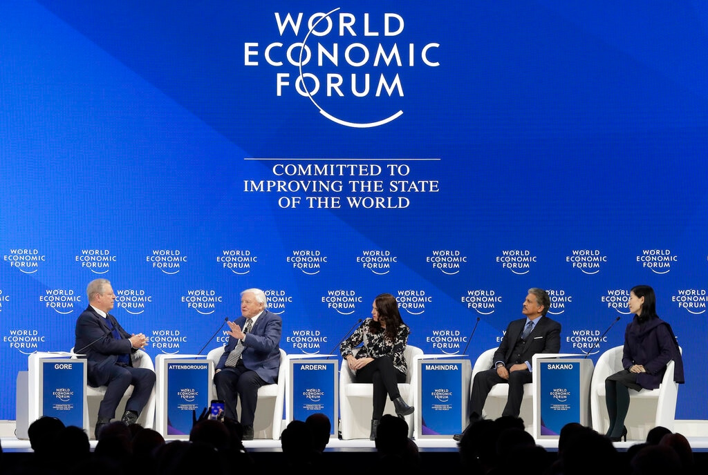 Al Gore, former vice-President of the United States, Sir David Attenborough, broadcaster and natural historian, Jacinda Ardern, Prime Minister of New Zealand, Anand Mahindra, Chairman of Mahindra Group, and Akira Sakano of Zero Waste Academy, from left to right, participate in the