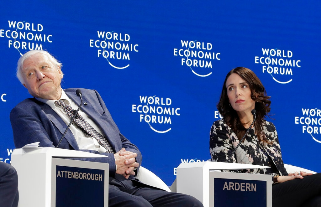 Sir David Attenborough, broadcaster and natural historian, and Jacinda Ardern, Prime Minister of New Zealand, participate in the
