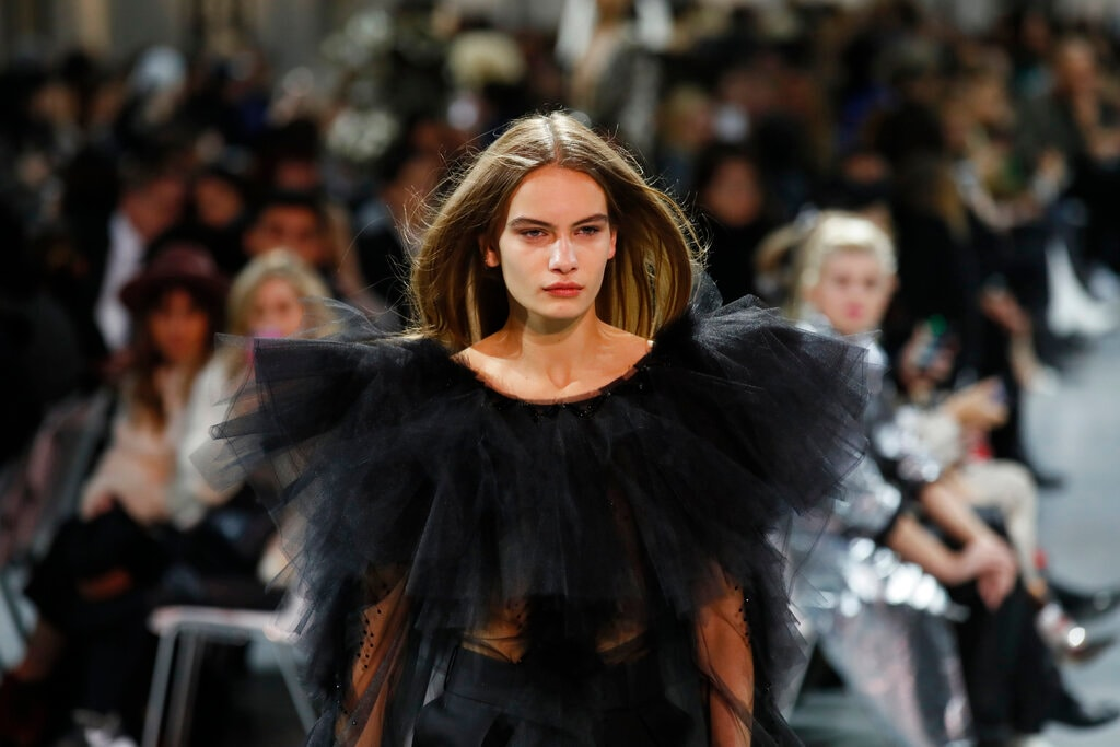 A model wears a creation for the Vauthier Spring/Summer 2019 Haute Couture fashion collection presented in Paris, Tuesday Jan. 22, 2019. (AP Photo/Francois Mori)