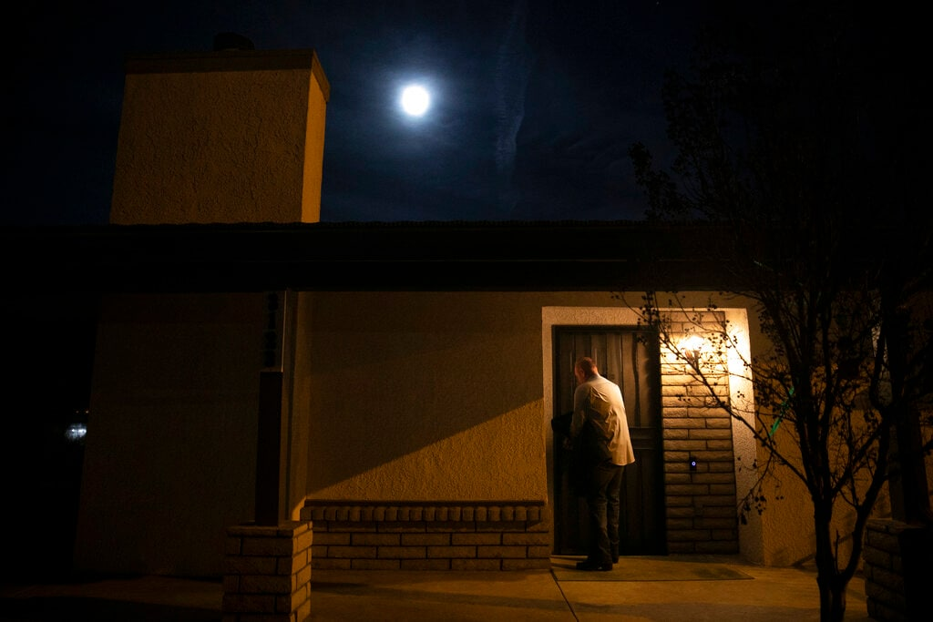 Chris George, a federal employee furloughed from his job as a forestry technician supervisor for the US Department of Agriculture Forest Service, leaves his home for a free meal offered to federal workers affected by the government shutdown Saturday, January 19, 2019, in Hemet, California.