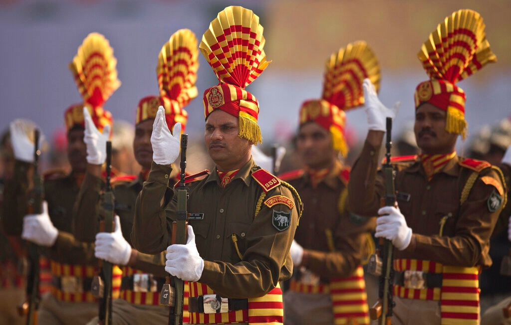Sashastra Seema Bal paramilitary soldiers participate in a parade to mark Republic Day in Guwahati, India, Saturday, January 26, 2019. (AP Photo/Anupam Nath)