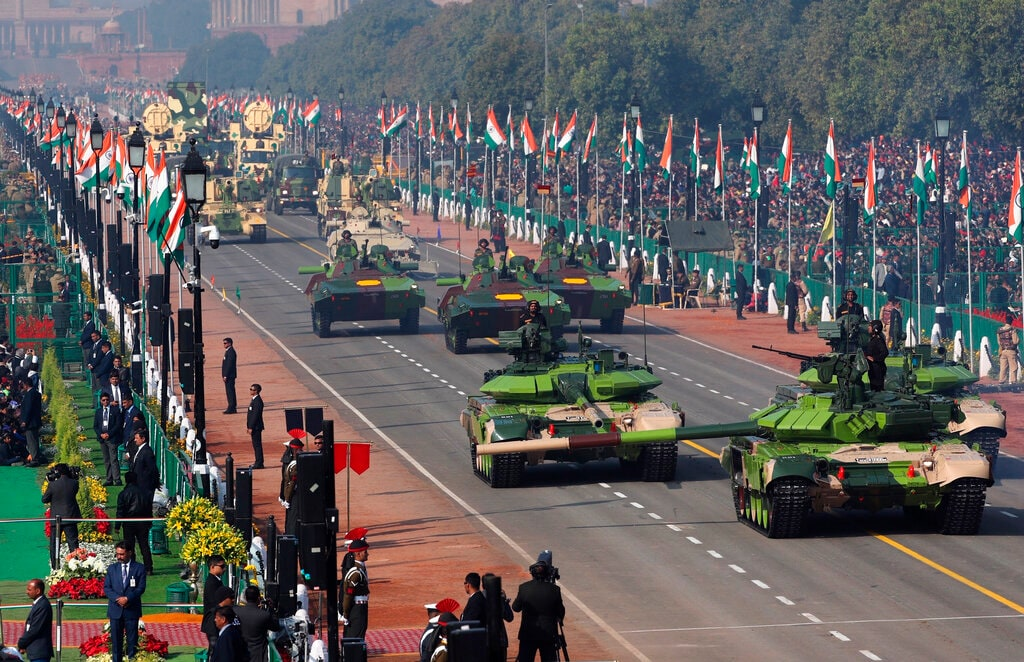 Indian army tanks and other military equipment roll past Rajpath, the ceremonial boulevard, during Republic Day parade in New Delhi, India, Saturday, January 26, 2019. India marks Republic Day on January 26 with military parades across the country. (AP Photo/Manish Swarup)