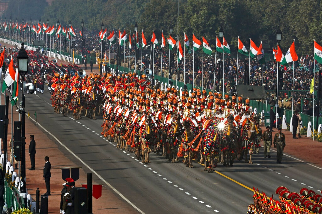 Camel mounted Border Security Force soldiers march past Rajpath, the ceremonial boulevard, during Republic Day parade in New Delhi, India, Saturday, January 26, 2019.  (AP Photo/Manish Swarup)