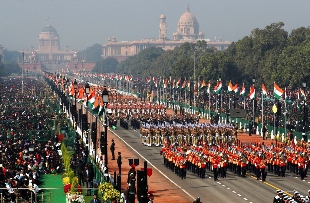 Paramilitary soldiers march past Rajpath, the ceremonial boulevard, during Republic Day parade in New Delhi, India, Saturday, January 26, 2019. (AP Photo/Manish Swarup)