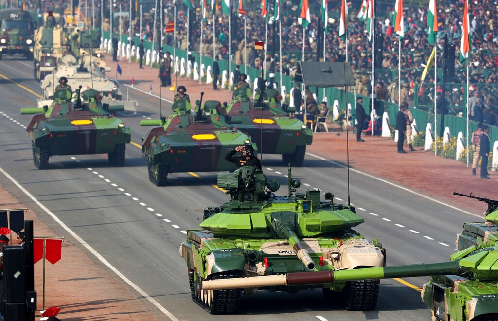 Indian army tanks and other military equipment roll past Rajpath, the ceremonial boulevard, during Republic Day parade in New Delhi, India, Saturday, January 26, 2019. (AP Photo/Manish Swarup)