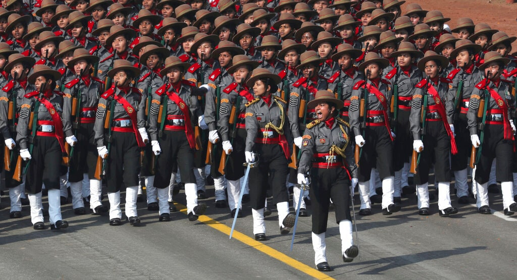 A women's contingent of the paramilitary Assam Rifles participate for the first time at the Republic Day parade in New Delhi, India, Saturday, January 26, 2019. (AP Photo/Manish Swarup)