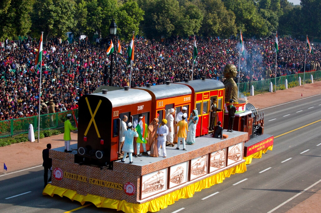 A tableau of Indian Railways depicting the transformation of freedom fighter Mohandas Karamchand Gandhi to Mahatma Gandhi drives past Rajpath, the ceremonial boulevard, during Republic Day parade in New Delhi, India, Saturday, January 26, 2019. (AP Photo/Manish Swarup)