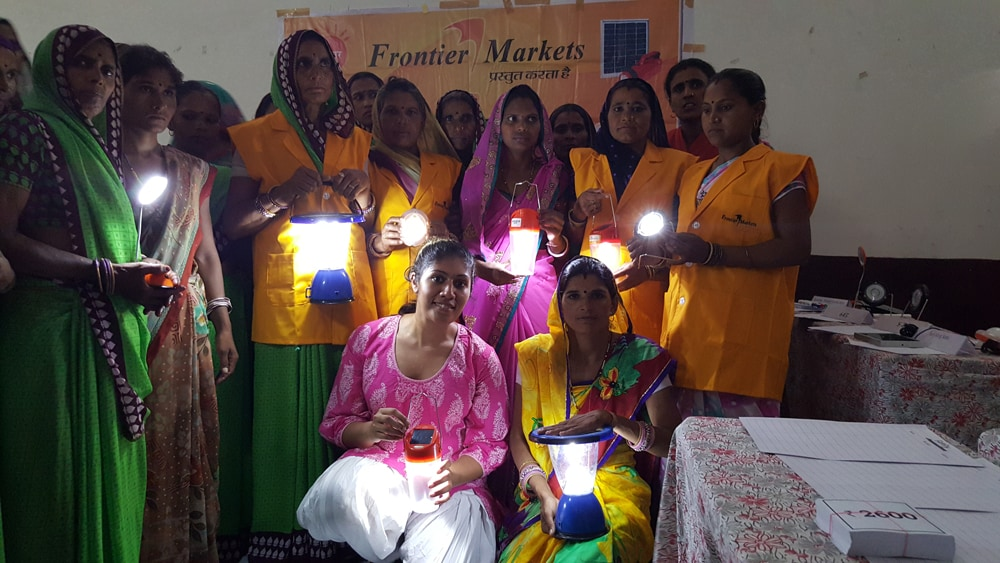 Ajaita (seated left) with her Solar Sahelis, whom she calls her 'talvaar'. There are 2,500 of them across India.