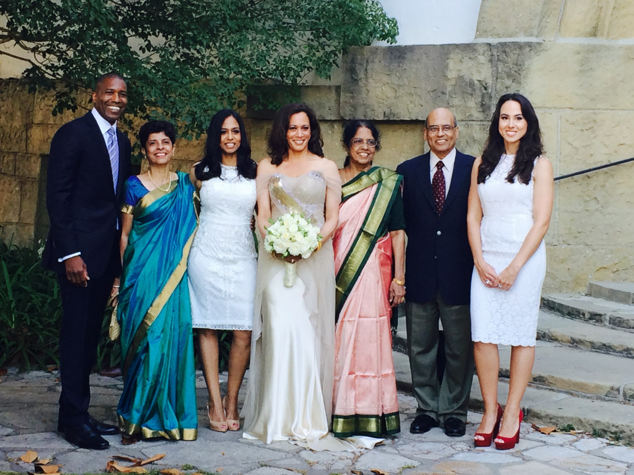 At the courthouse on the day of our (Kamal Harris andDoug Emhoff ) marriage, with my family. Left to right: Tony, Aunt Chinni, Maya, me, Aunt Sarala, Uncle Subash (Chinni's husband), and Meena. Picture courtesy: Kamala Harris