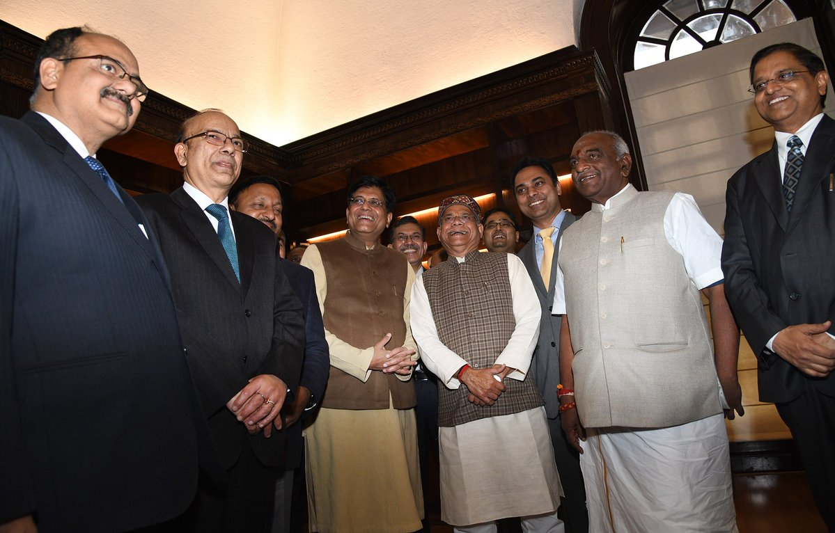 Goyal along with both the MoS(finance),finance secretary and other secretaries of the ministry, CEA and chairman, CBDT and CBIC giving Final touches to Budget 2019 in his office in North Block in New Delhi on Thursday.