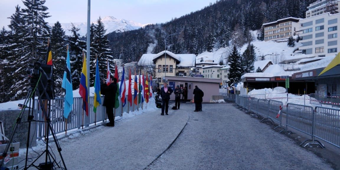 The town of Davos in the Swiss Alps is decorated with flags from the nations participating in the annual summit of World Economic Forum.