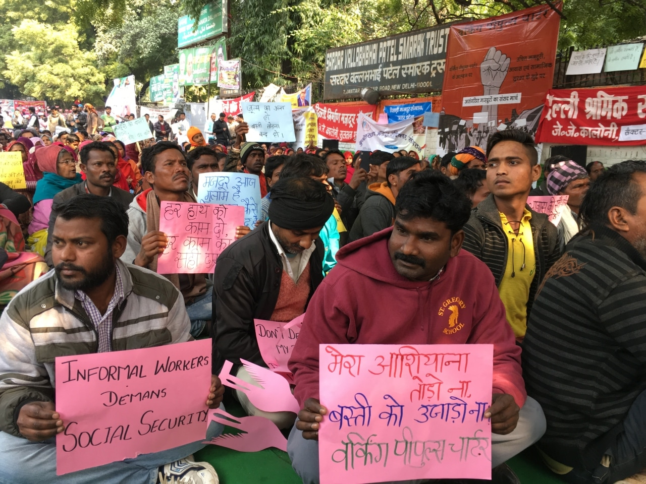 Informal workers protest for social security benefits at a rally in New Delhi, India on February 1, 2019.