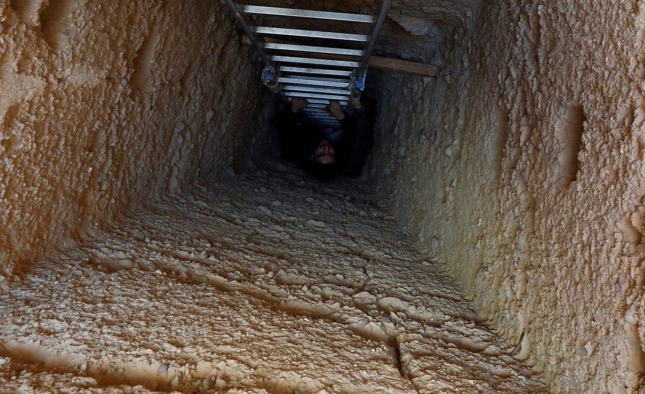 A journalist is seen on the ladder at the entrance to the tombs. (REUTERS/Amr Abdallah Dalsh)