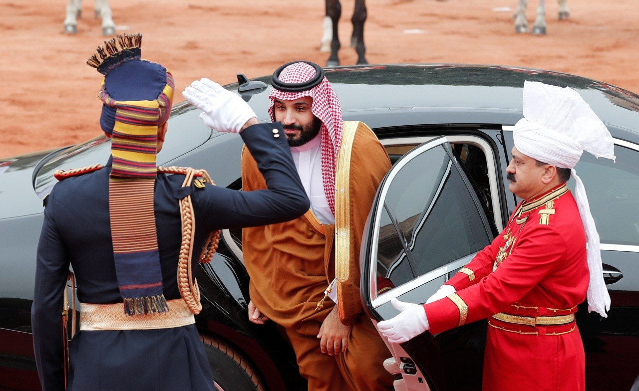 Saudi Arabia's Crown Prince Mohammed bin Salman arrives for his ceremonial reception at the forecourt of Rashtrapati Bhavan in New Delhi, India, February 20, 2019. (Reuters)