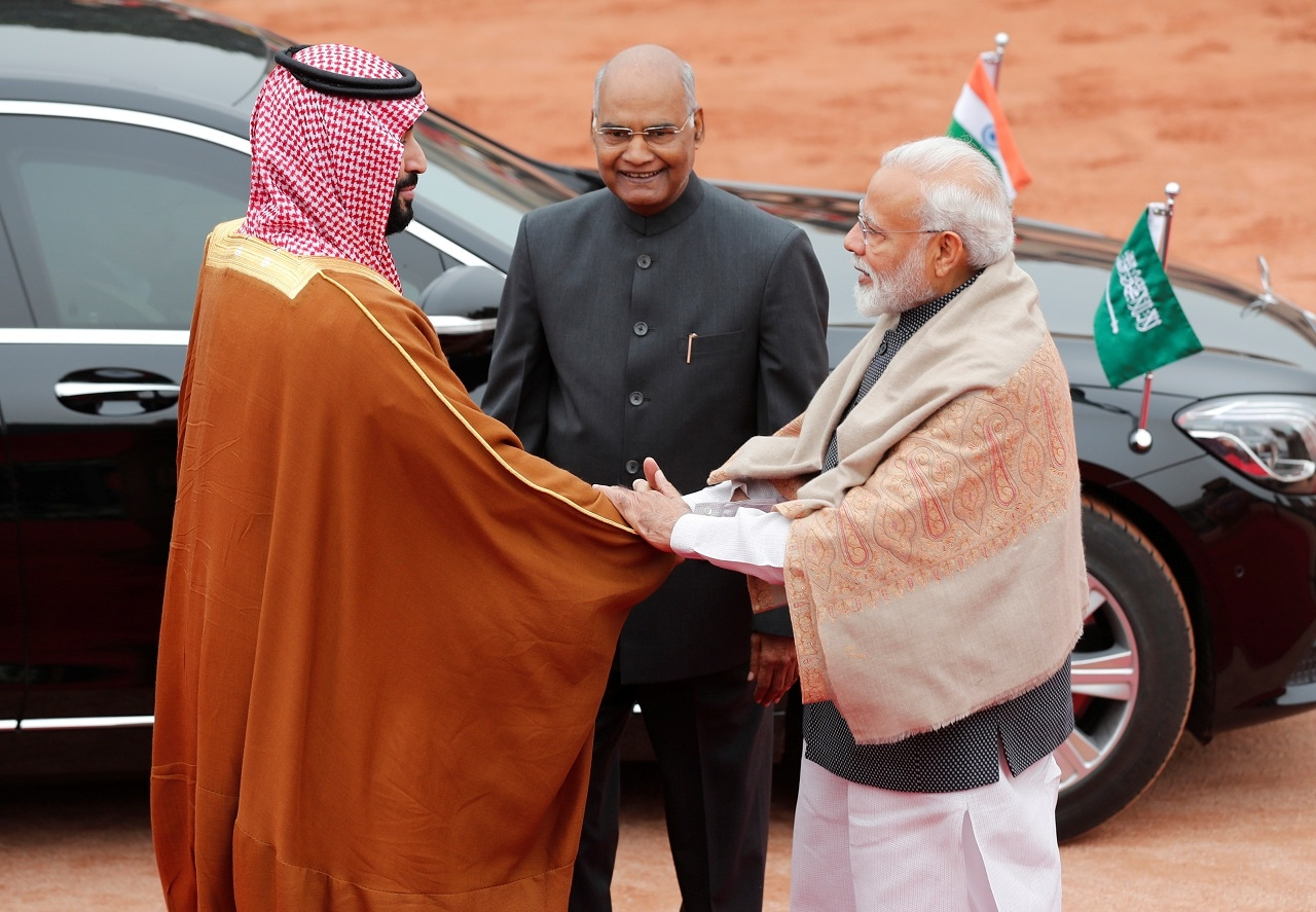 Saudi Arabia's Crown Prince Mohammed bin Salman is greeted by India's Prime Minister Narendra Modi as President Ram Nath Kovind watches during his ceremonial reception at the forecourt of Rashtrapati Bhavan in New Delhi, India, February 20, 2019. (Reuters)