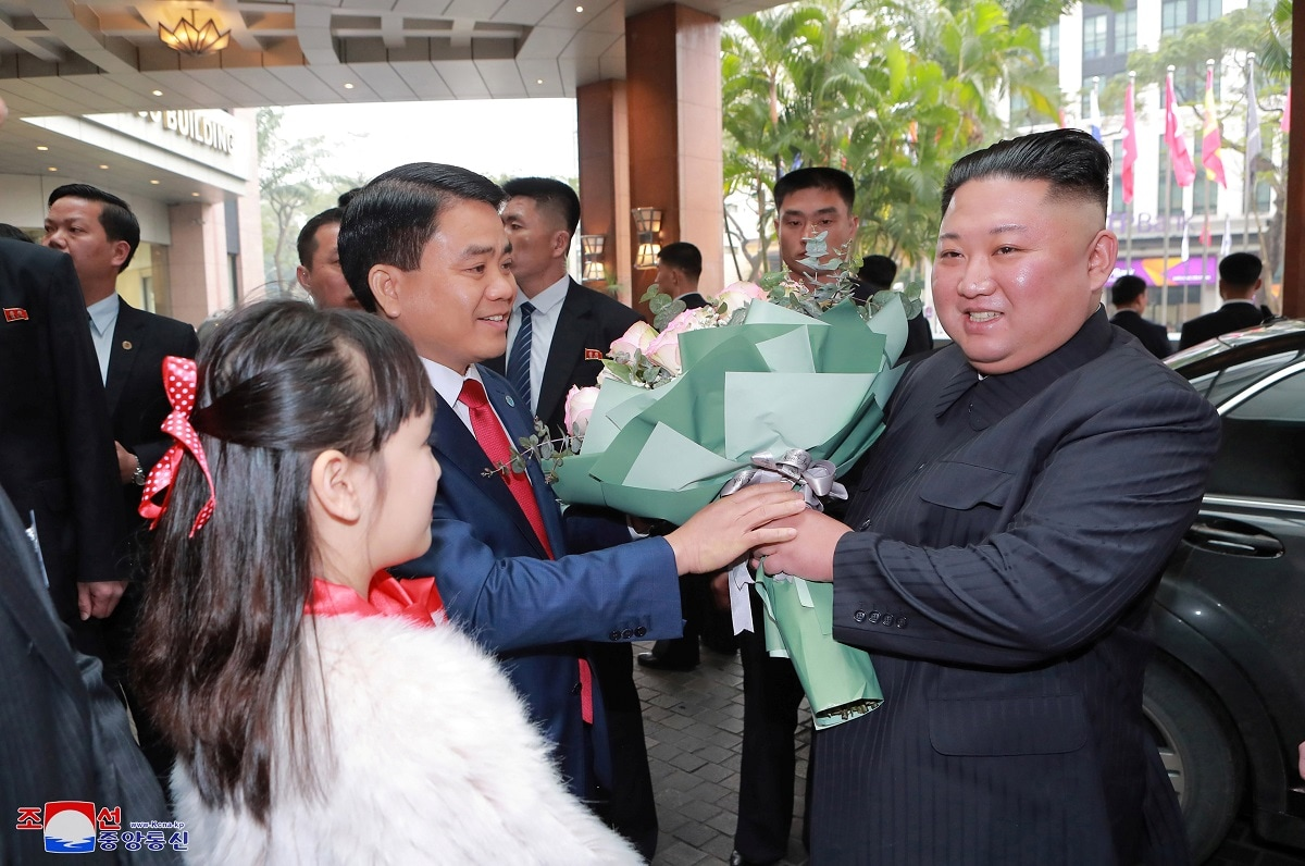 North Korea's leader Kim Jong Un is welcomed at Dong Dang railway station, Vietnam, at the border with China in this photo released by North Korea's Korean Central News Agency (KCNA). KCNA via REUTERS