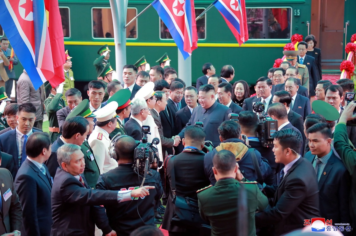 North Korea's leader Kim Jong Un arrives at the Dong Dang railway station, Vietnam, at the border with China in this photo released by North Korea's Korean Central News Agency (KCNA). (KCNA via REUTERS)