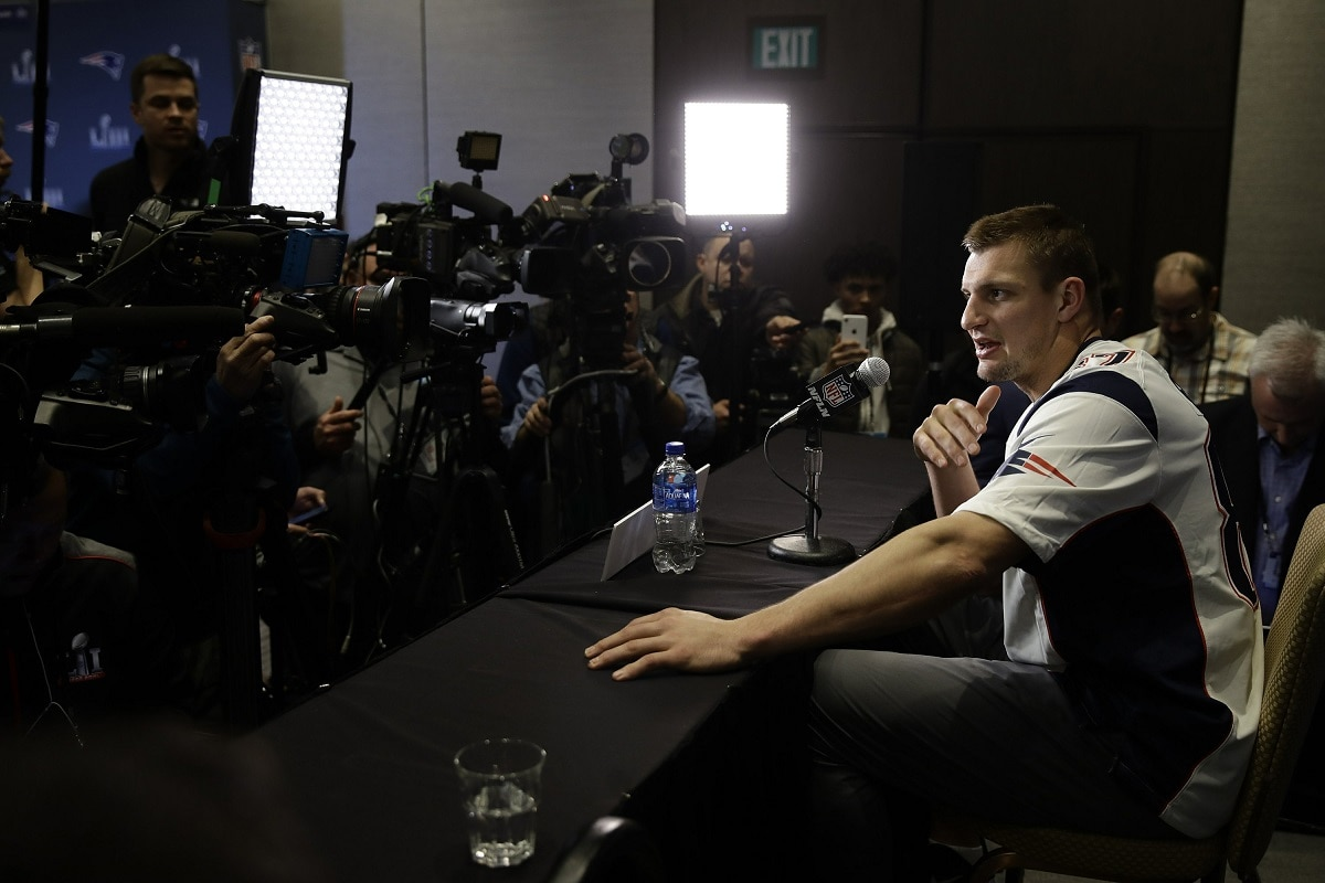 New England Patriots tight end Rob Gronkowski speaks with members of the media during a news conference. (AP Photo/Matt Rourke)