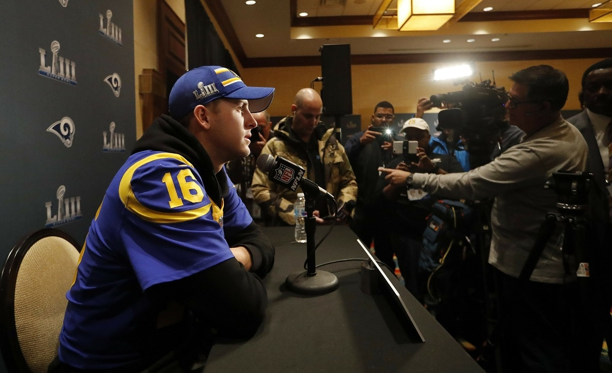 Los Angeles Rams quarterback Jared Goff speaks to reporters during a press availability ahead of the NFL Super Bowl 53 football game against the New England Patriots. (AP Photo/John Bazemore)