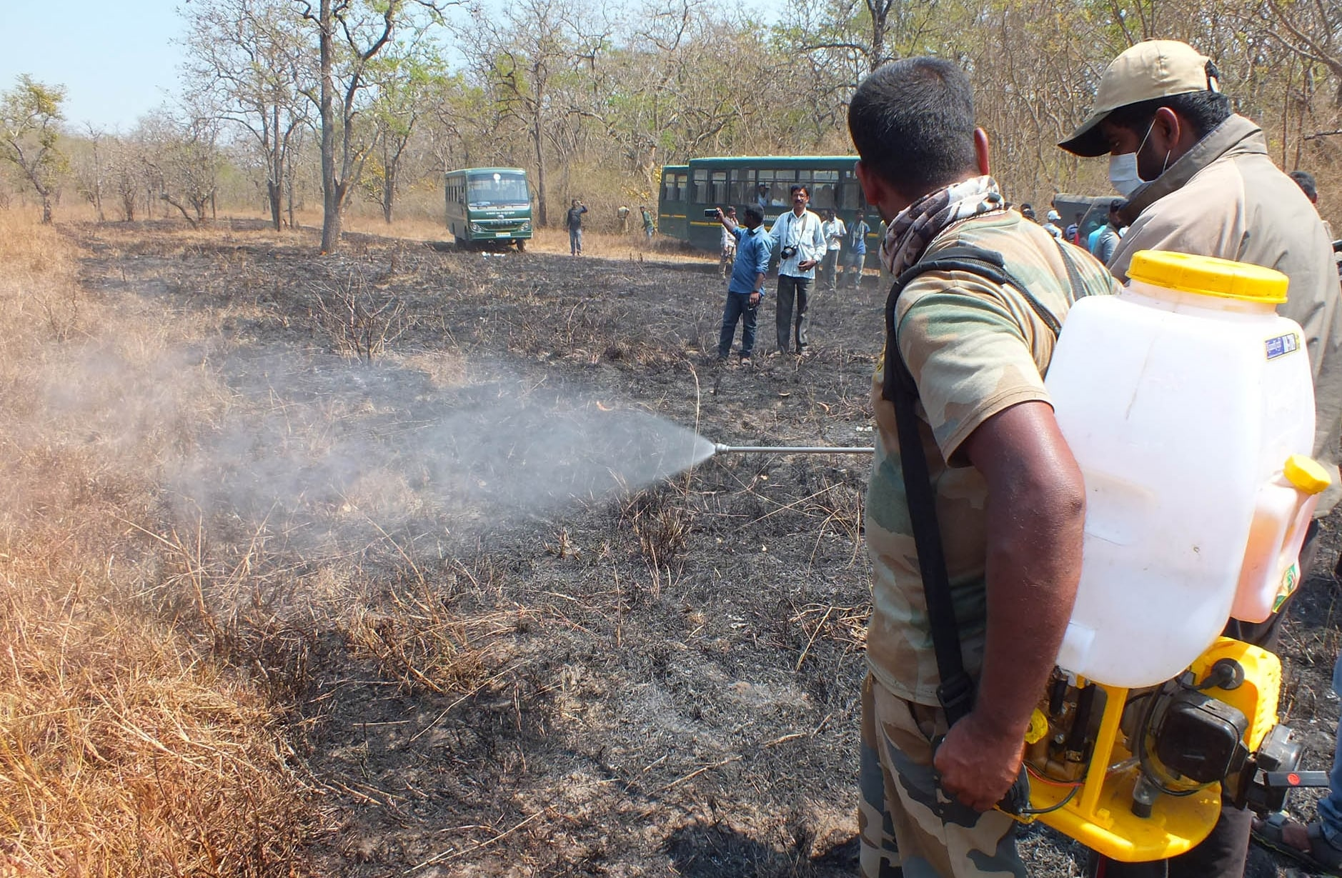 Eyewitnesses said hundreds of trees and bushes had been reduced to ashes. The forest department has started a probe to find what caused the fire, extent of damage and measures to breathe life into the huge tract of land bereft of its greenery. (Photo: IANS)