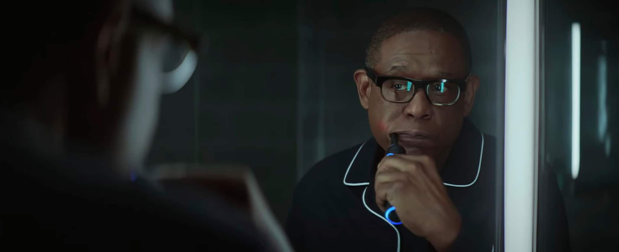 This undated image made from a video provided by Amazon shows a scene from the company's 2019 Super Bowl NFL football spot featuring Forest Whitaker. Amazon pokes fun at itself as celebrities from Harrison Ford to astronaut twins Mark and Scott Kelly test products that didn't quite work out, including an electric toothbrush and a dog collar with Amazon's Alexa digital assistant. (Amazon via AP)