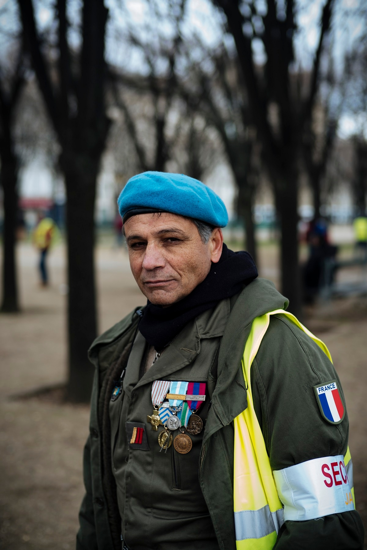 Christophe, 57, a former member of the military, from Montluçon, center France, poses for a portrait. (AP Photo/Kamil Zihnioglu)