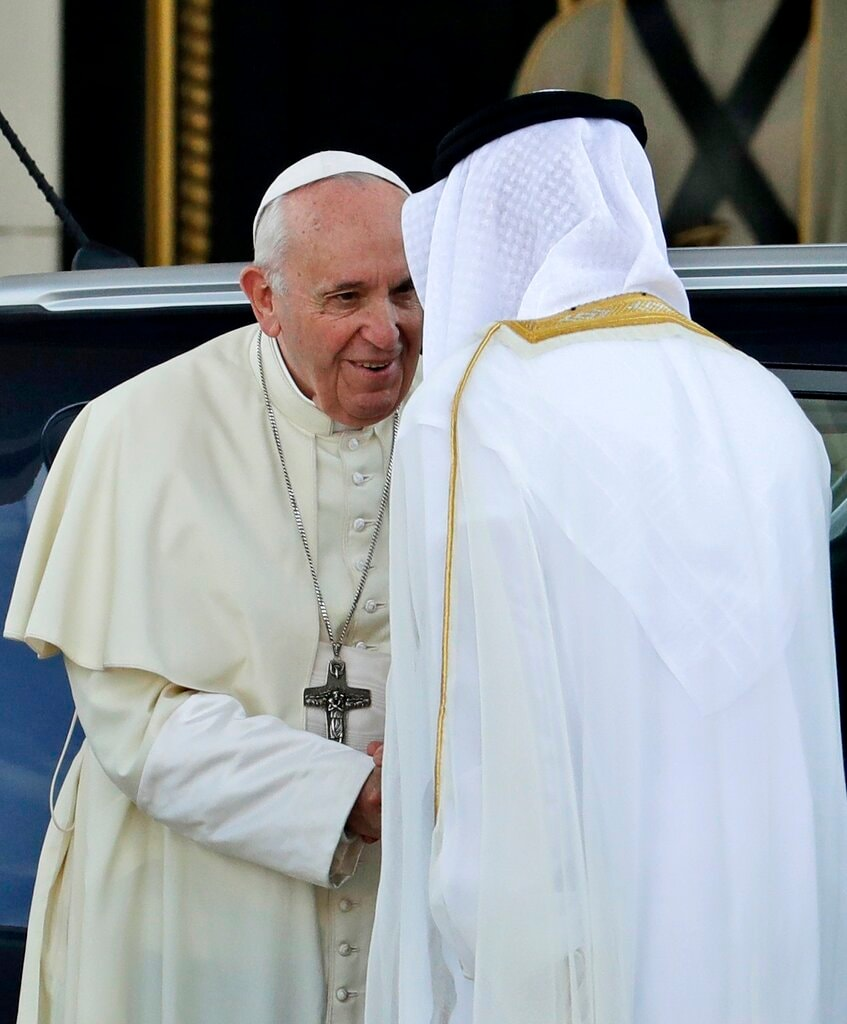 Pope Francis is welcomed by Crown Prince Sheikh Mohammed bin Zayed Al Nahyan, right, on the occasion of their meeting at the Presidential Palace, in Abu Dhabi, United Arab Emirates, Monday, February 4, 2019. (AP Photo/Andrew Medichini)