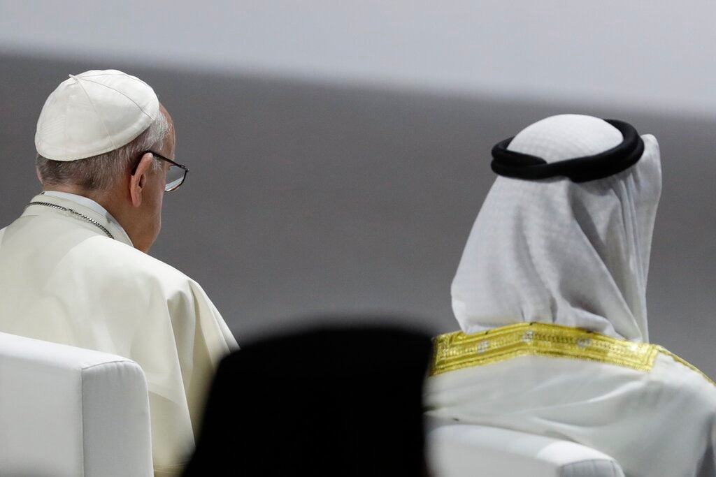 Pope Francis and Crown Prince Sheikh Mohammed bin Zayed, right, attend an inter-religious meeting at the Founder's Memorial in Abu Dhabi, United Arab Emirates, Monday, February 4, 2019. Pope Francis arrived in Abu Dhabi on Sunday. His visit represents the first papal trip ever to the Arabian Peninsula, the birthplace of Islam. (AP Photo/Andrew Medichini)