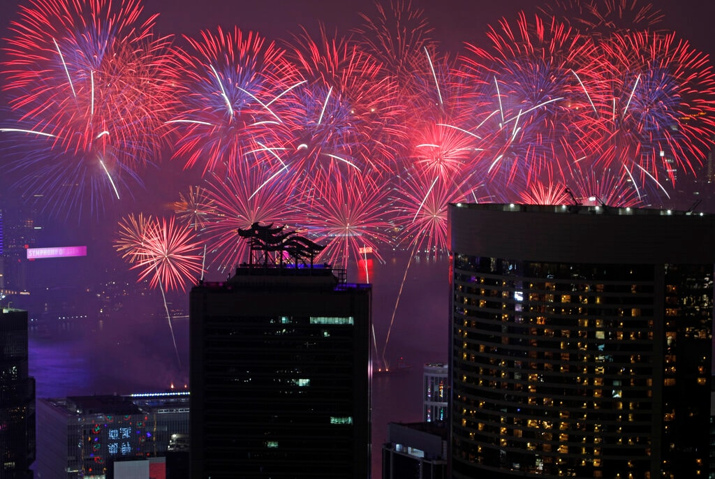 Fireworks explode over Victoria Harbour to celebrate the Lunar New Year in Hong Kong, Wednesday, February 6, 2019. Chinese are celebrating the Lunar New Year, which marks the Year of the Pig on the Chinese zodiac. (AP Photo/Vincent Yu)