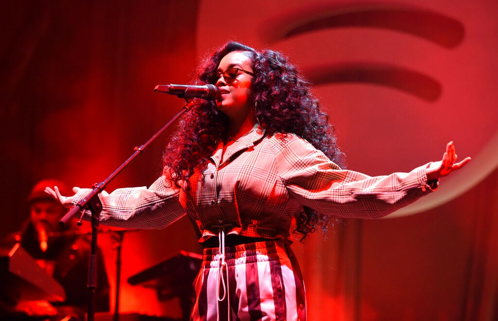 H.E.R. performs at the Spotify Best New Artist 2019 Party at The Hammer Museum on Thursday, February 7, 2019, in Los Angeles. (Photo by Phil McCarten/Invision/AP)