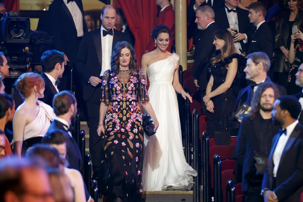 Britain's Prince William and Kate, Duchess of Cambridge arrive for the BAFTA 2019 Awards at The Royal Albert Hall in London, Sunday February 10, 2019. (AP)