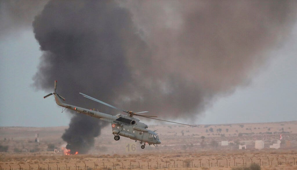 An Indian air force chopper participates in an air exercise named 'Vayu Shakti-2019', or air power, at Pokhran, in Rajasthan, Saturday, February 16, 2019. (AP Photo/Manish Swarup)