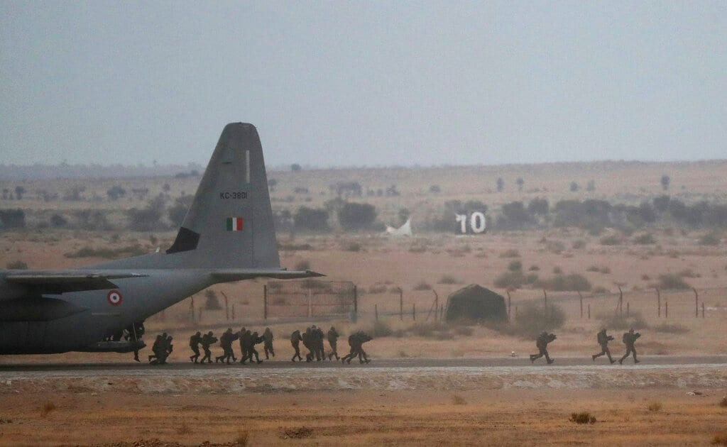 Indian Air Force (IAF) commandoes participate in an air exercise named 'Vayu Shakti-2019', or air power, at Pokhran, in Rajasthan, Saturday, February 16, 2019. (AP Photo/Manish Swarup)