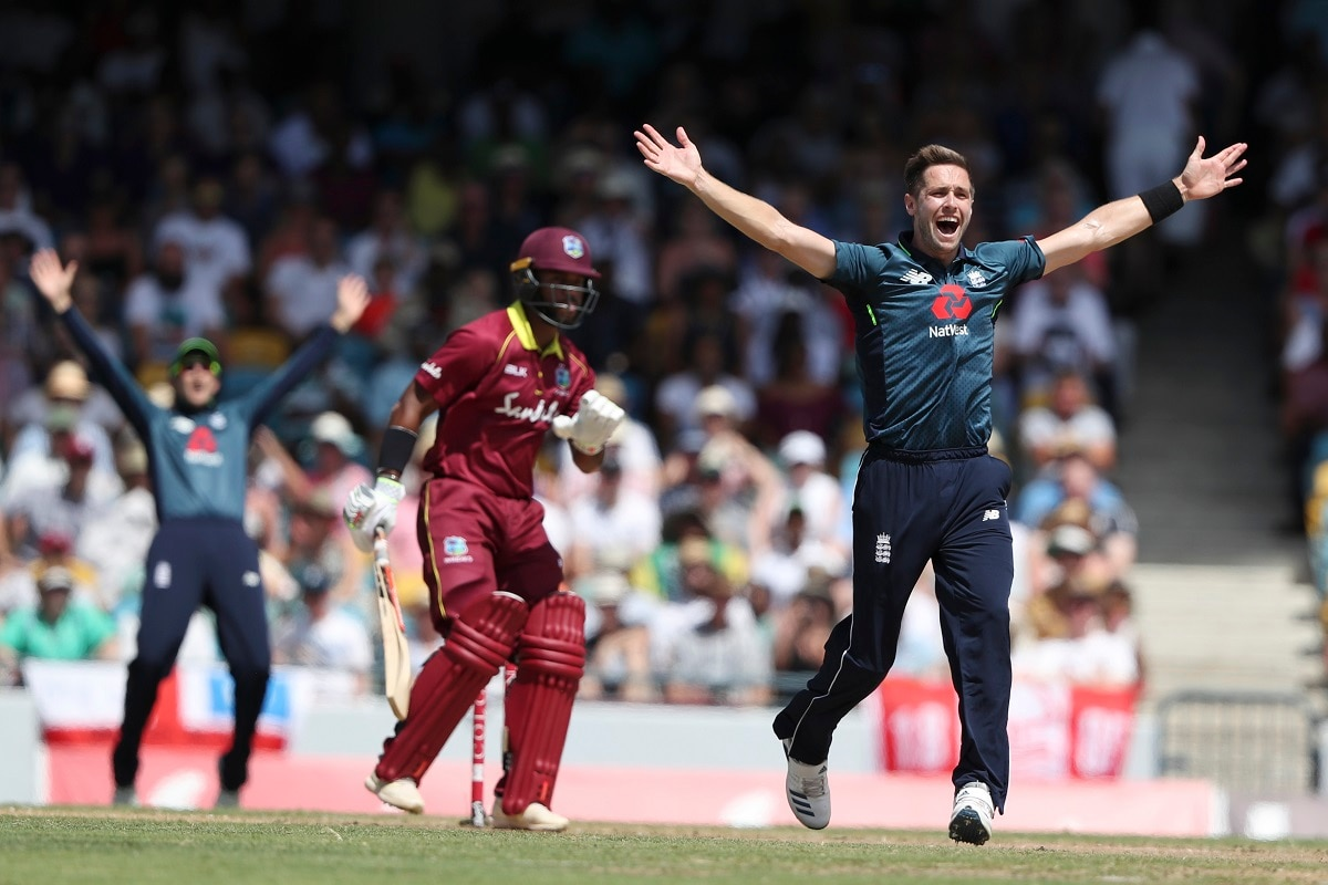 England's Chris Woakes unsuccessfully appeals for the wicket of West Indies' John Campbell during their first One Day International cricket match at the Kensington Oval in Bridgetown, Barbados. (AP Photo/Ricardo Mazalan)