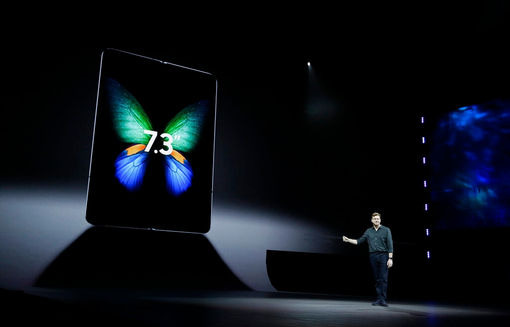 The Galaxy Fold will go on sale on April 26 and take advantage of new and faster 5G mobile networks. Justin Denison, SVP of Mobile Product Development said at the Samsung event Wednesday, February 20, 2019, in San Francisco. (AP Photo/Eric Risberg)
